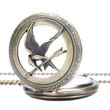 Vintage Popular The Hunger Game Fashion Quartz Pocket Watch Retro Bronze Copper Necklace Pendant wish Chain Reloj De Bolsillo