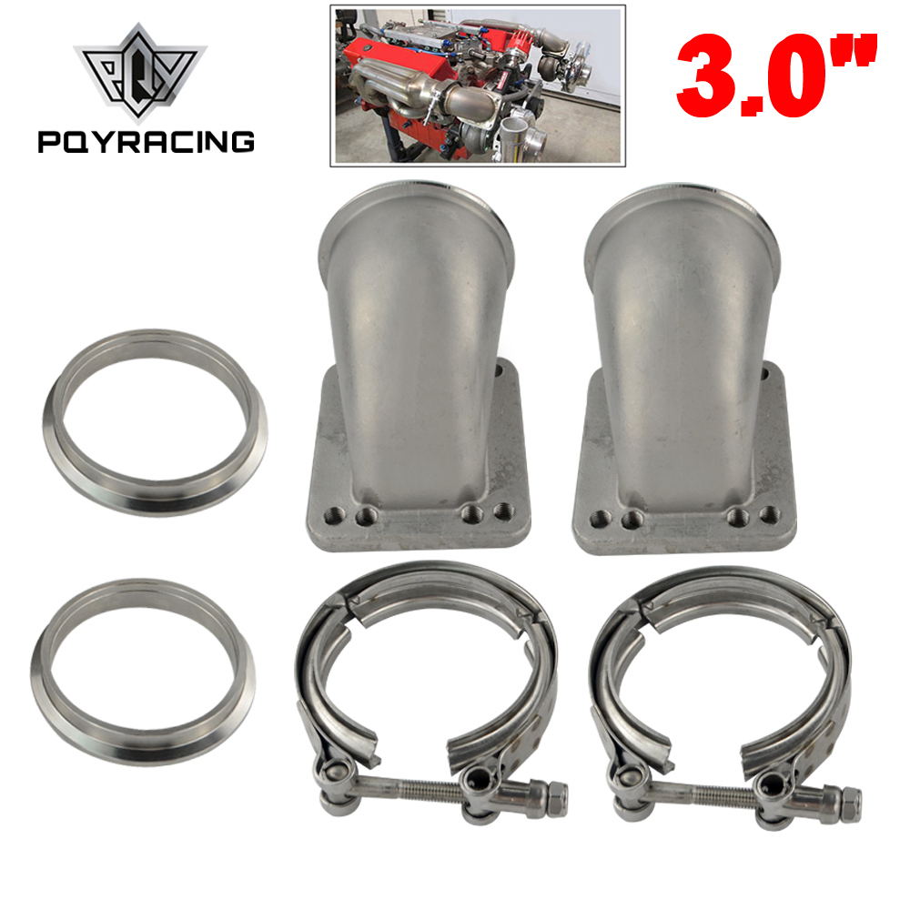 1 Pair 3.0 Vband 90 Degree Cast Turbo Elbow Adapter Flange 304 Stainless Steel + Clamp and Flange For T3 T4 Turbocharger