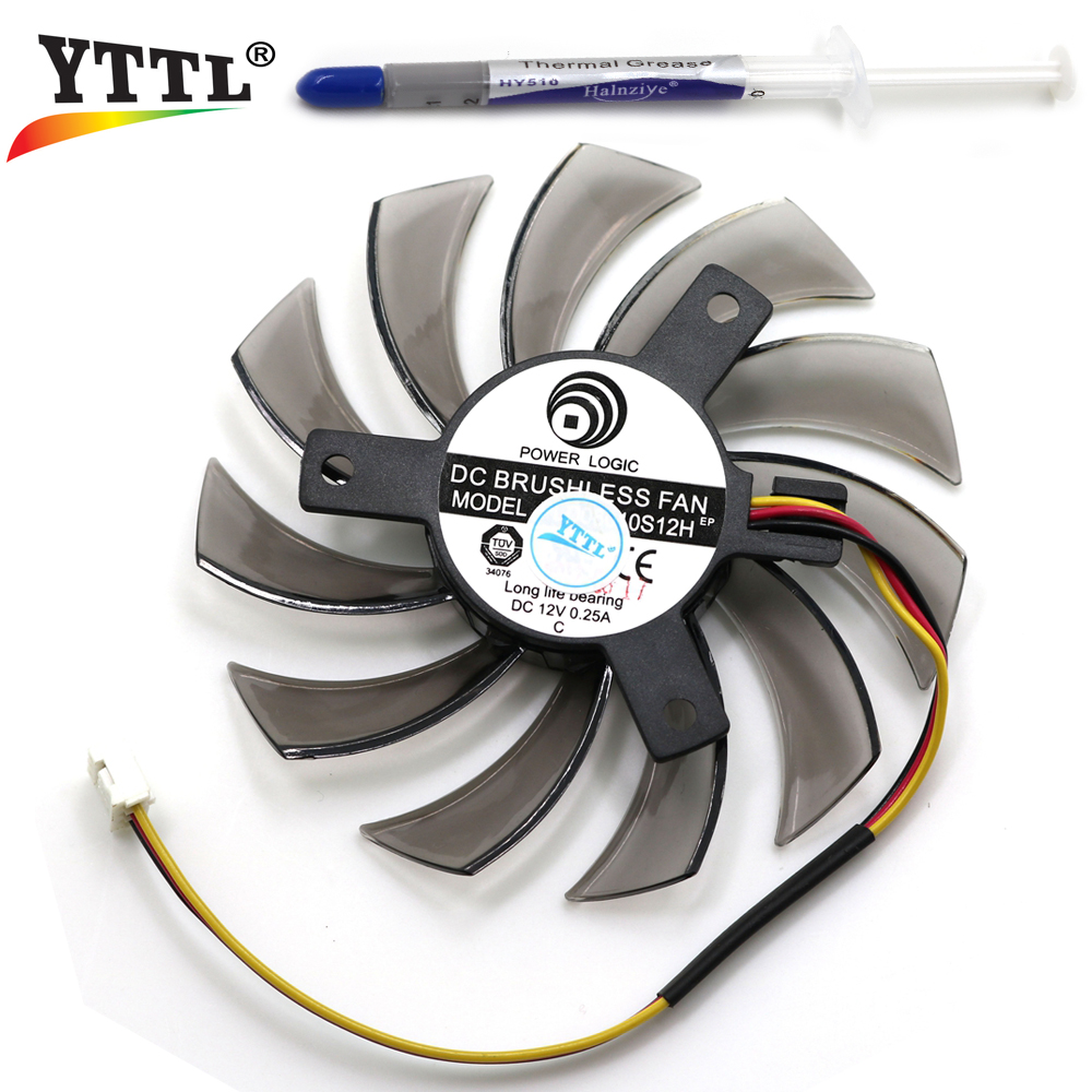 75MM Power Logic PLD08010S12H DC 12V 0.25A 3Pin Computer Cooling Fan Gigabyte Geforce GTX 570 630 750TI  Graphics Video Card computador cooling fan replacement for msi twin frozr ii r7770 hd 7770 n460 n560 gtx graphics video card fans pld08010s12hh