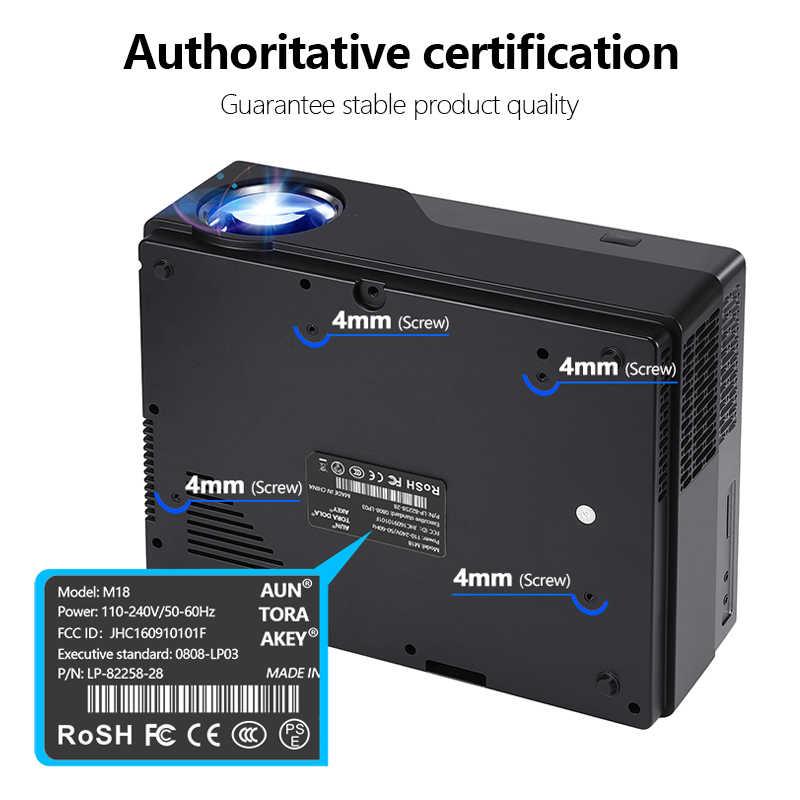 AUN Full HD WIFI LED projektör M18/UP, Android projektör ev sineması, 1920x1080P LED projektör. Destek AC3. 5500 lümen.