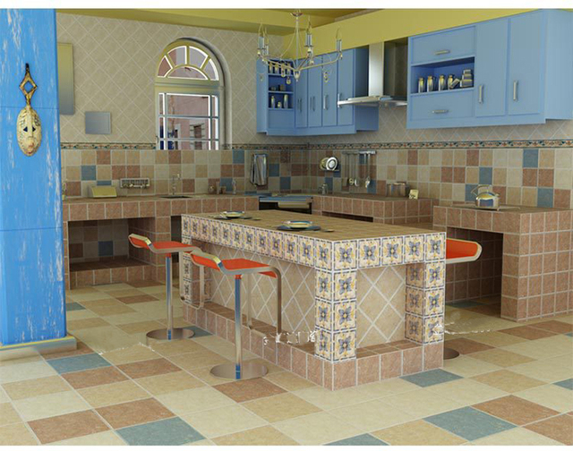 Parete della cucina piastrelle di mattoni in stile mediterraneo