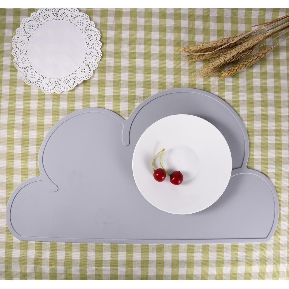 High Quality Silicone Placemat Kids Infant Nursing Cloud Shaped Plate Mat Tableware Eating Dining Plate freeshipping ink wash paint bird цветочная теплоизоляция обеденный стол mat placemat диски bowl coasters водонепроницаемый скользкий мат