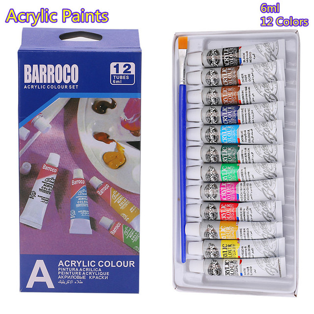 6 ml 12 Color Professional Acrylic Paints Set Hand Painted Wall Paint Tubes Artist Draw Painting Pigment Free Brush MAY11