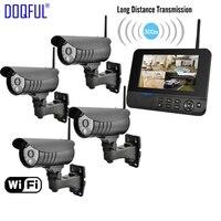 7 ЖК дисплей монитор Главная Безопасность Камера Системы Беспроводной Quad SD запись видеонаблюдения DVR ПИР сигнализация гвардии 4CH цифрового