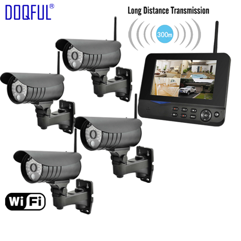 "7"" LCD Monitor Home Security Camera System Wireless Quad SD Record CCTV DVR PIR Alarm Guard 4CH Digital Surveillance Kit DIY"