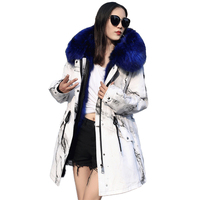 New Fur coat parkas winter jacket Thicken coat women parka big raccoon fur collar natural fox fur liner long outerwear Plus size