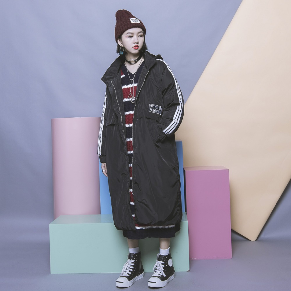 ФОТО Harajuku brief casual stripe long-sleeve applique letter loose plus size long design with a hood wadded