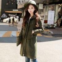 original 2017 winter 2 pieces set down jacket new leisure semi turtleneck handsome army green long down coat women wholesale