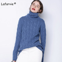 купить Lafarvie New Cashmere Blended Knitted Sweater Women Tops Autumn Winter Turtleneck Long Sleeve Fashion Female Soft Warm Pullover по цене 2510.16 рублей