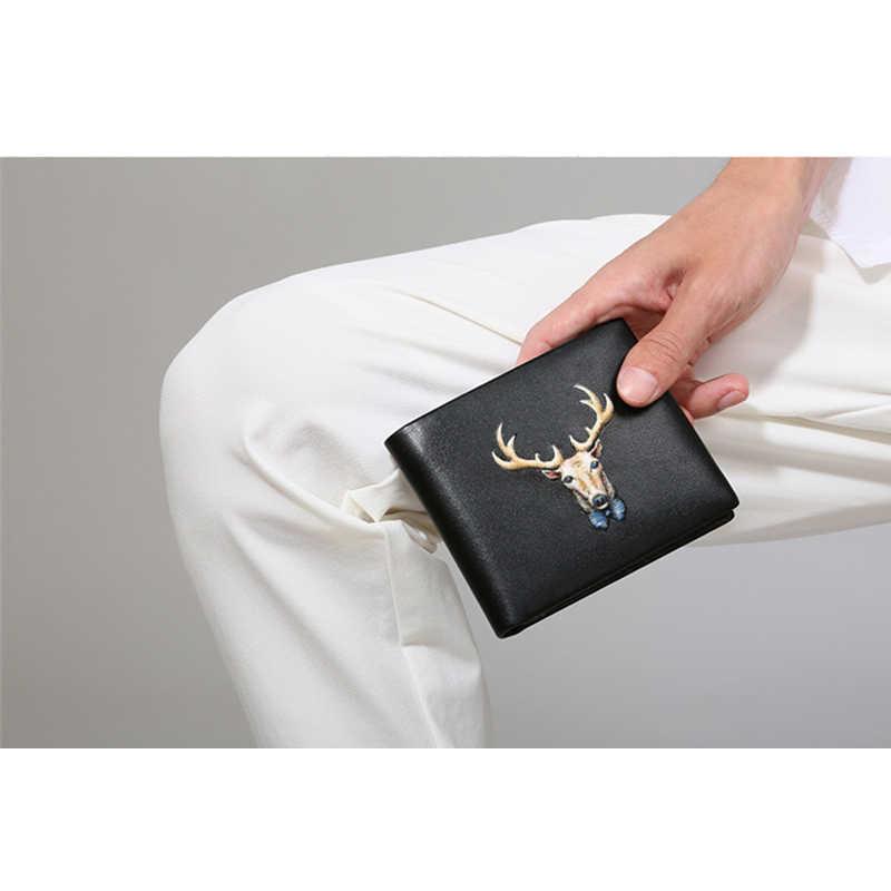 3D изображениями животных Олень Для мужчин кошелек из натуральной кожи бренд кошелек Длинные мягкие теплые короткий кожаный кошелек держатель для карт мужской деньги сумки