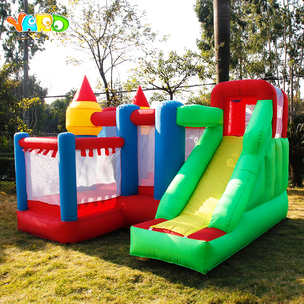 лучшая цена YARD 3 x 3 x 2.1m Inflatable Jumper Bouncy Castle Nylon Oxford PVC Bouncer Jumping House Trampoline Bouncer with Blower for Kid