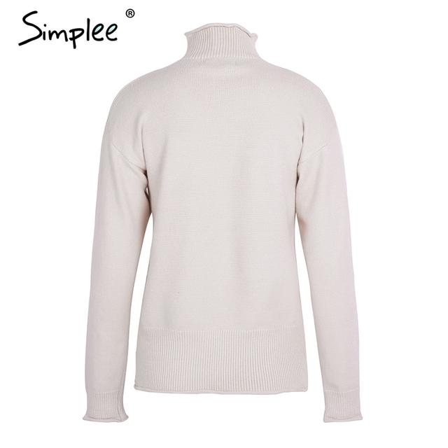 Simplee Elegant knitting turtleneck pullover sweater Warm autumn winter elastic sweater women 2017 Casual streetwear jumper top