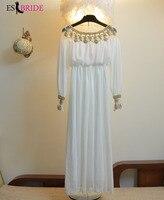 Luxury Muslims Evening Dresses Gold Appliques Robe De Soiree White Evening Dress Elegant Vestidos De Fiesta De Noche ES1944
