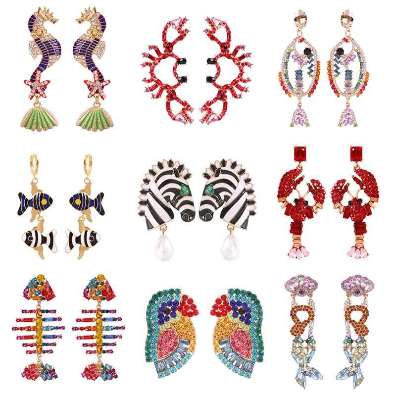 Lalynnly New Animal Seahorse Fish Flamingo Drop Earrings Multi-color Full Crystal Birds Snake Dangle Earrings Party Ear Jewelry