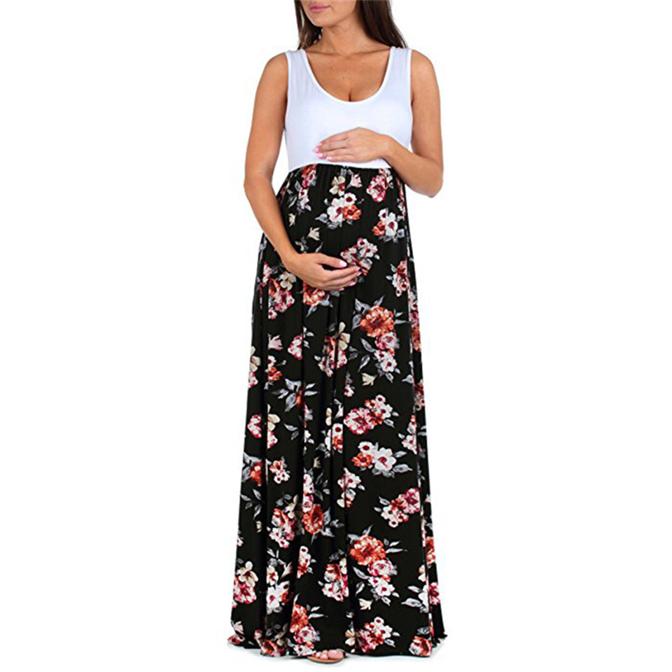Froal Pregnancy Dress Photography Sleeveless Maxi Long Maternity Dress Clothes For Photography Props Print Women Summer Dress
