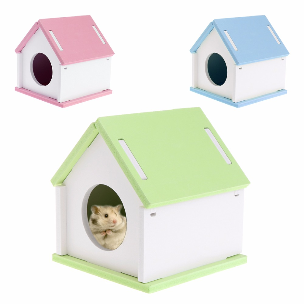 Us 3 05 26 Off 1pc Hamster House Cage Wood Bed Small Animal Pet Guinea Pig Squirrel Gerbil Nest Toy Diy 3 Colors Small Pets Supplies C42 In Cages