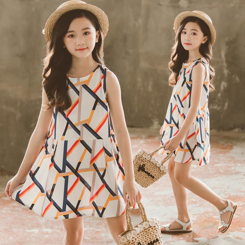 Dresses for Girls Sleeveless Vetement Children Girl Casual Style Children Dress Teenage Girls Clothes 6 8 10 12 13 14 Year 1