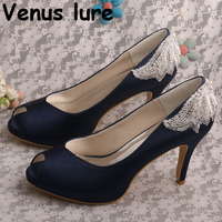 New Design Peep Toe Wedding Pumps Navy High Heels Blue Shoes for Mother of the Bride