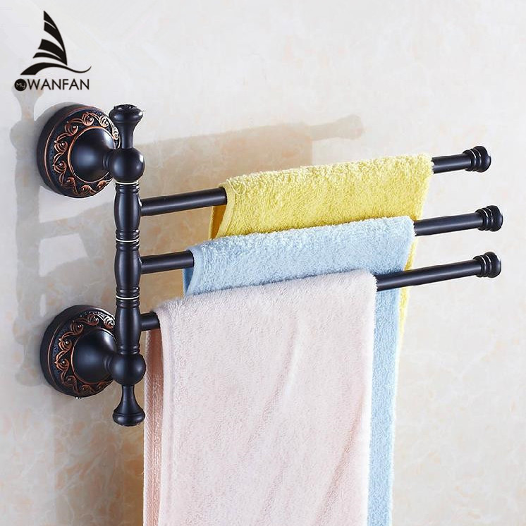 Towel Racks 3 Rails Swivel 35cm Black Brass Towel Bars Hanger Towel Holder Wall Mounted Bathroom Accessories Towel Shelf H91328R new and brief 4 swivel towel bars copper wall mounted black bathroom towel rail rack bathroom towel holder folding towel hanger