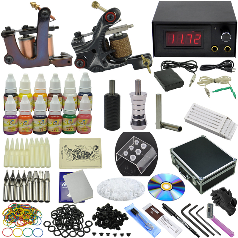 OPHIR 351pcs/set Pro 2 Rotary Tattoo Machine Guns Equipment for Body Art 12 Color Tattoo Inks & Nozzle & Neddle #TA074 pair of vintage alloy emboss beads triangle earrings for women