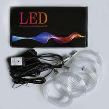 Звук активных RGB светодиодный салона свет многоцветный EL неоновая подсветка для салона автомобиля Bluetooth телефон Управление Атмосфера Свет 12 V