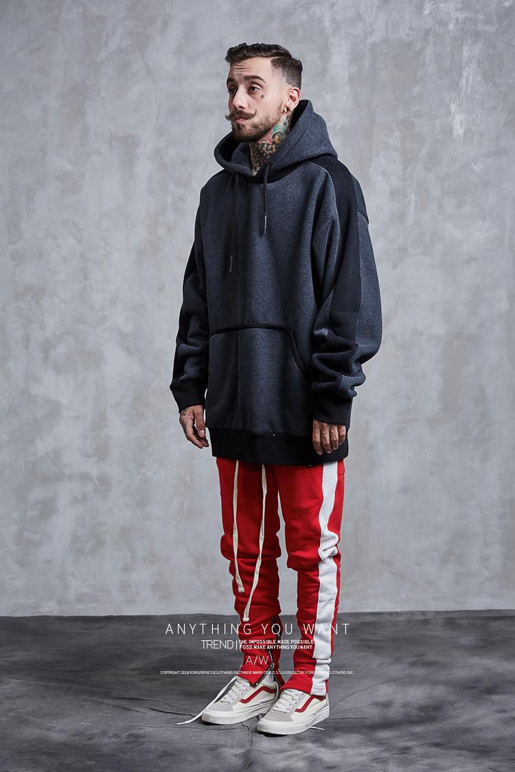 Aolamegs Hoodies Men Side Striped Hood High Street Pullover Cotton Fashion Hip Hop Streetwear Casual Big Pocket Hoodie Autumn (27)