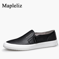 Mapleliz Brand Men Black Moccasins Zip Genuine Cow Leather Big Size Male Flats Classics High Quality Casual Soft Shoes for Men