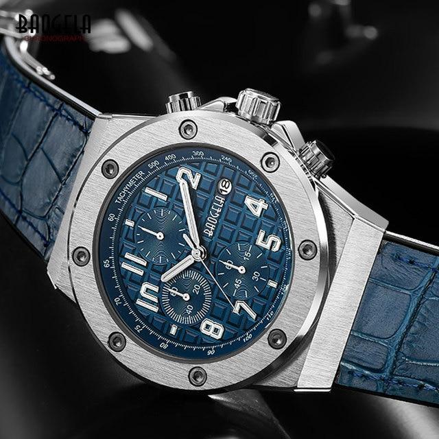 Baogela novos relógios de quartzo masculino 2019 cronógrafo à prova dwaterproof água relógio de pulso luminoso casual homem pulseira de couro relogios 1805 azul