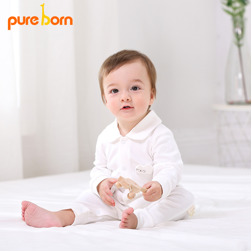 Pureborn Baby   Romper   Organic Cotton Jumpsuit Overall Baby Costume Girls Boys Clothing Long Sleeve Clothes Cartoon Cat Cute New