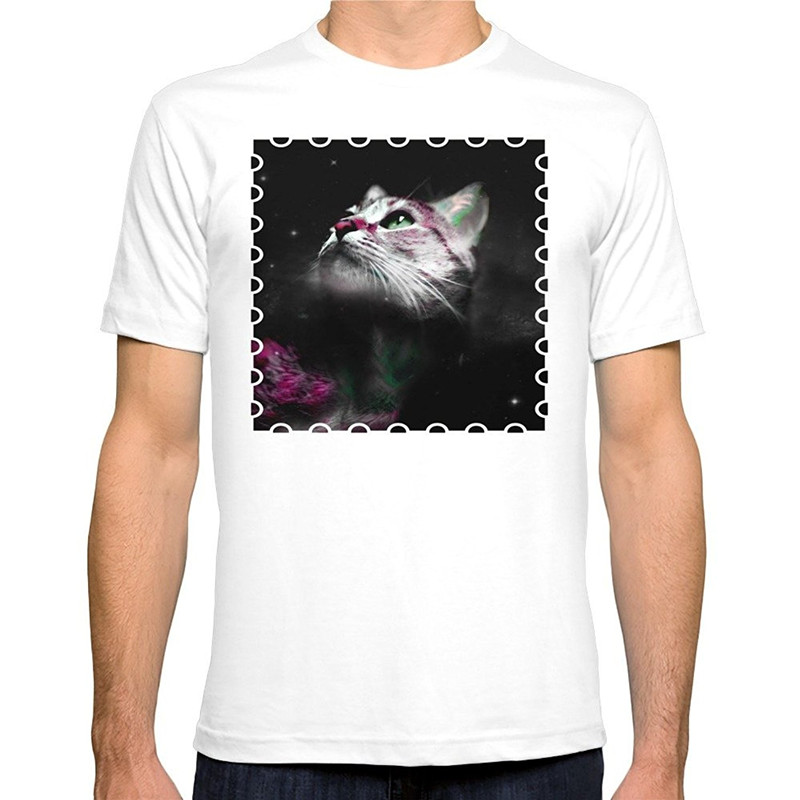 Cotton Casual Shirt White Top Short Sleeve Printed Crew Neck Supernova Of The Ethereal Cat Tee For Men