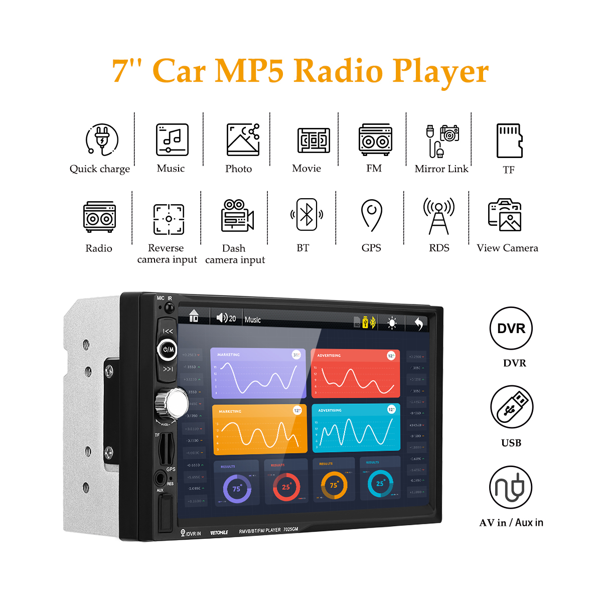 7025G 7Inch Car MP5 Player 2Din 800*480 Touch Screen WinCE GPS Navigation Bluetooth FM SWC USB TF AUX Mirror Link + EU Map Card 7 0 touch screen wince 6 0 mtk3351 gps navigator with fm 4gb tf card w europe map black