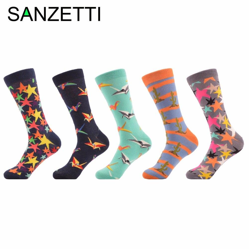 SANZETTI 5 pairs/lot Mens Novelty Combed Cotton Socks Paper Cranes Orange Striped Cactus Funny Socks Dress Casual Crew Socks