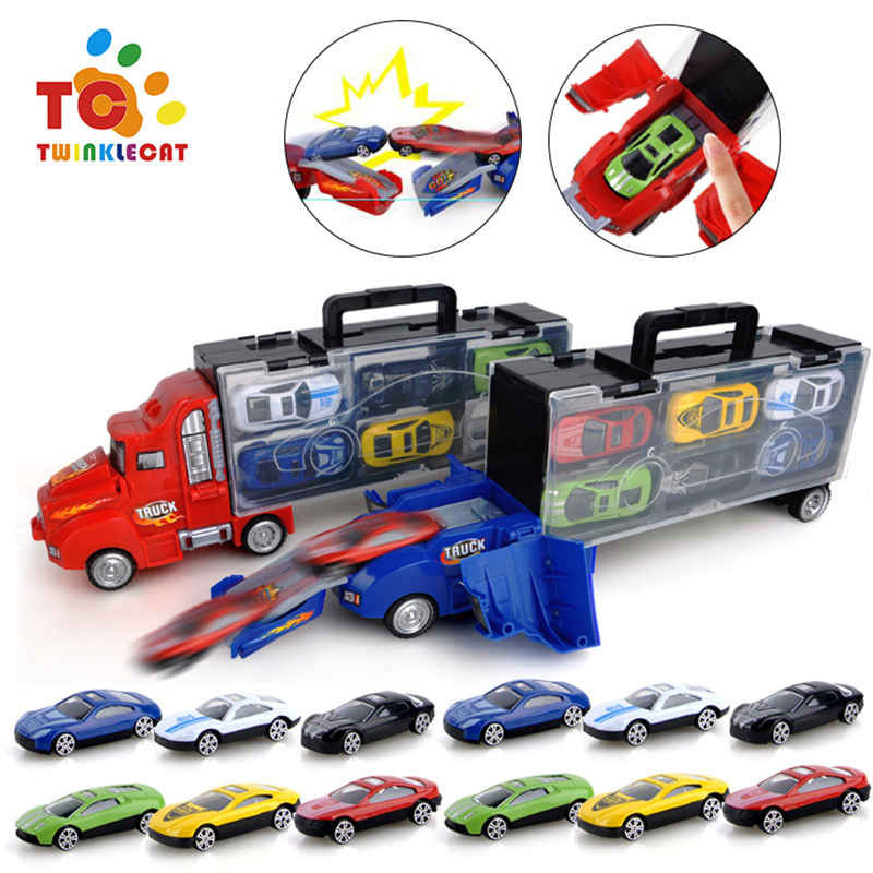 Transport Car Carrier Truck Toy with 12 die-cast Cars