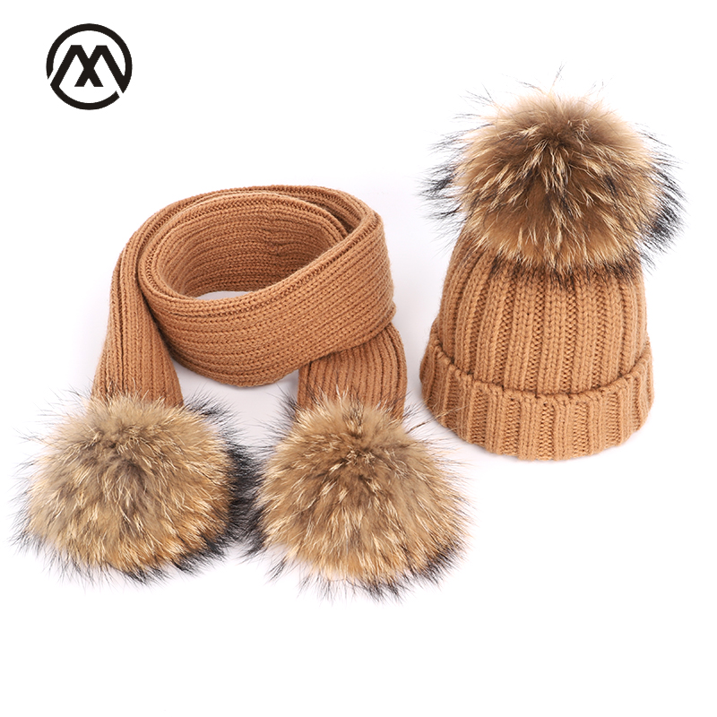 Winter Warm Knitted Cotton Hats Ladies Raccoon Fur Pompom Scarf Ski Parent-child Caps Boy Girl Children Beanies For Women Skulli