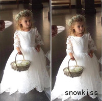 Vintage White/ivory sheer lace back long sleeves ball gown tulle flower girl dresses for wedding party kids long princess gown