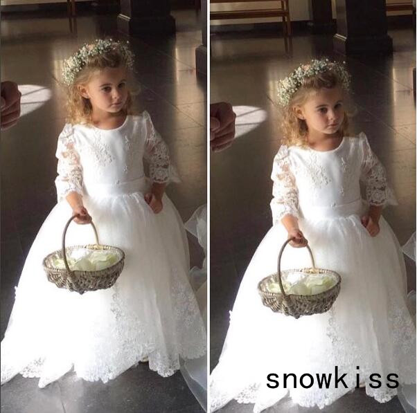 Vintage White/ivory sheer lace back long sleeves ball gown tulle flower girl dresses for wedding party kids long princess gown long mesh sheer slip babydoll
