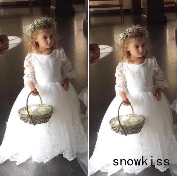 Vintage blanc/ivoire transparent dentelle dos manches longues robe de bal tulle fleur fille robes pour fête de mariage enfants longue robe de princesse