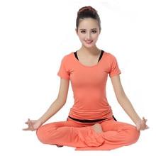 New women 3 in 1 yoga shirt +pants +bra suit short sleeved fitness dance yoga clothing