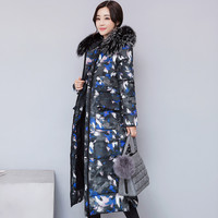 Autumn winter Long section Women's cotton clothing coat 2018 New Thick warm Big fur collar Camouflage Cotton aphid Female W91