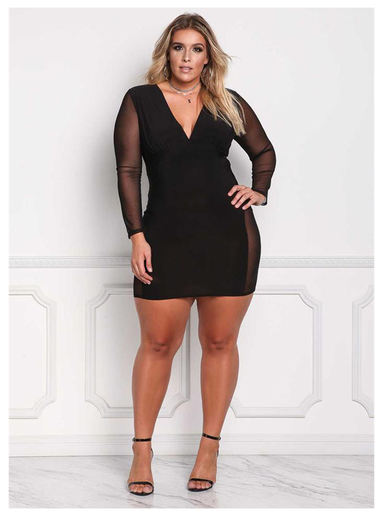 Ryeon Sexy Party Kleider Große Größe Herbst Sommer Frauen Schwarz Mesh  Langarm V-ausschnitt Plus Größe Bodycon Frau Kleider Vestidos 3xl 1d1643d2ec0e