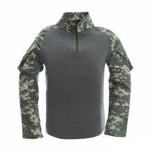 """Kamufliažas Vyriški marškinėliai """"Army Combat"""" """"Tactical T"""" marškinėliai Kariniai vyrai su ilgomis rankovėmis marškinėliai """"Combat Airsoft"""" specialiųjų viršutinių trikampių"""