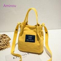 Aminou Casual Canvas Bags Women Shoulder Bag Ladies Vintage Mini Letter Print Handbags Messenger Bolsa Teenager
