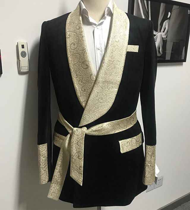 HOT SELLING black velvet with gold satin shawl lapel and belt 2 pieces one button dinner suit for men wedding suits prom suits