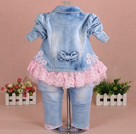 Neue 2017 Mädchen Kleidung Set 3pcs Kinder Mädchen Denim Set Baby - Babykleidung - Foto 3