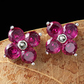 925 Silver Garnet Stud Earring for Women Party Red Corundum S925 Sterling Silver Earrings Wedding Jewelry LE63