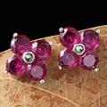 925 Silver Garnet Stud Earring for Women Party Red Corundum S925 Sterling Silver Earrings Wedding Jewelry LE63