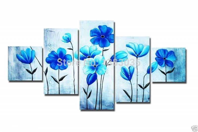 tienda online pintado a mano moderno flores azules pinturas al leo sobre lienzo arte de la pared abstracta unidades decorativa del cuadro conjunto