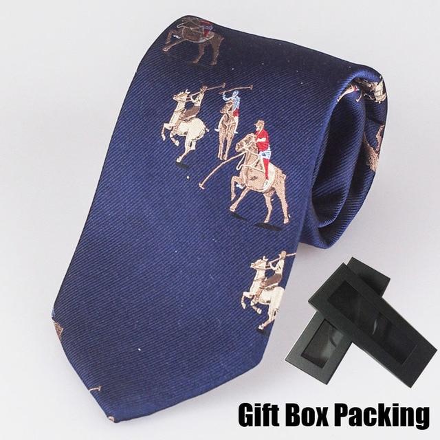 De lujo 100% Seda de la corbata en caja de regalo Italiano famoso branded corbata azul marino con patrón de caballo de los hombres