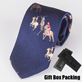 Luxury 100% Silk necktie in gift box Italian famous branded tie navy blue with horse men pattern