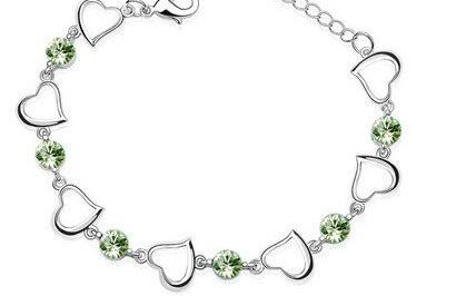 Браслеты с одним сердцем, высокое качество, циркониевые амулеты, популярные модные ювелирные изделия, Прямая поставка, подарок на день рождения, вечерние, австрийские кристаллы - Окраска металла: green